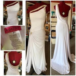White prom or Pageant gown Greek goddess dress
